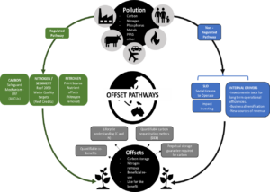 Illustration of the relationship between pollution and offsets