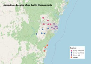 Shows the approximate location of Air Quality Measurements in Sydney